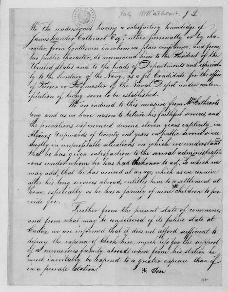 William Jones to James Monroe, July, 1818. Recommendation of James Leander Cathcart.