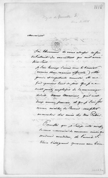 Hyde de Neuville to James Madison, December 3, 1818. In French with Extract.