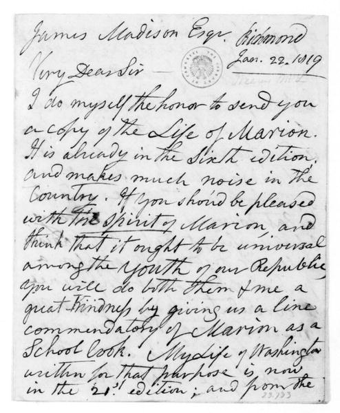 M. L. Weems to James Madison, January 22, 1819.