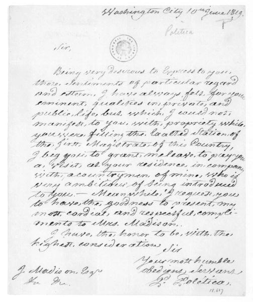 G. Poletica to James Madison, June 10, 1819.