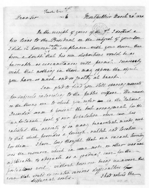 James Madison to Tench Coxe, March 20, 1820.