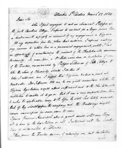 Thomas Cooper to James Madison, March 12, 1821.