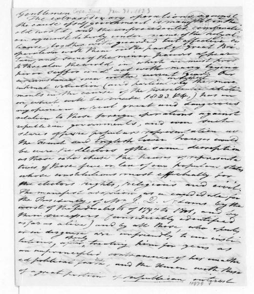 Tench Coxe to James Madison, January 31, 1823. Also addressed to Thomas Jefferson.