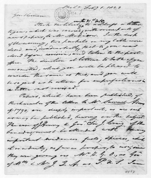 Tench Coxe to James Madison, February 1, 1823. Also addressed to Thomas Jefferson.