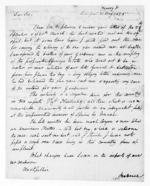 James Maury to James Madison, May 21, 1823.
