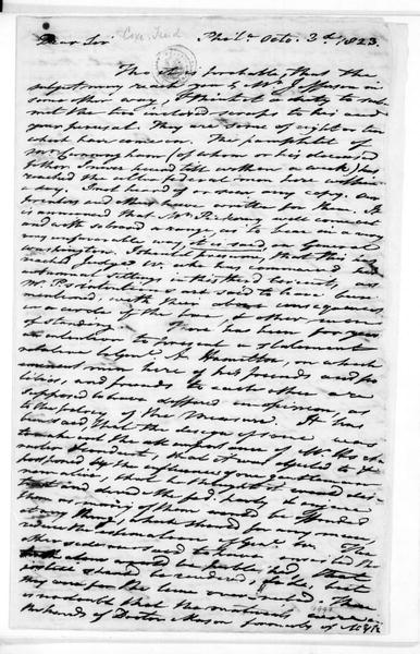 Tench Coxe to James Madison, October 3, 1823.
