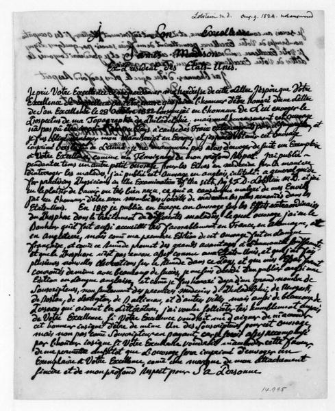 J. F. Daniel Lobstein to James Madison, August 9, 1824. In French.