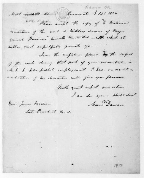 Moses Dawson to James Madison, September 3, 1824.