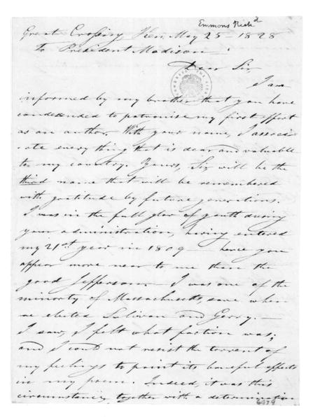 Richard Emmons to James Madison, May 25, 1828.