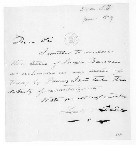 L. F. Dade to James Madison, June, 1829.