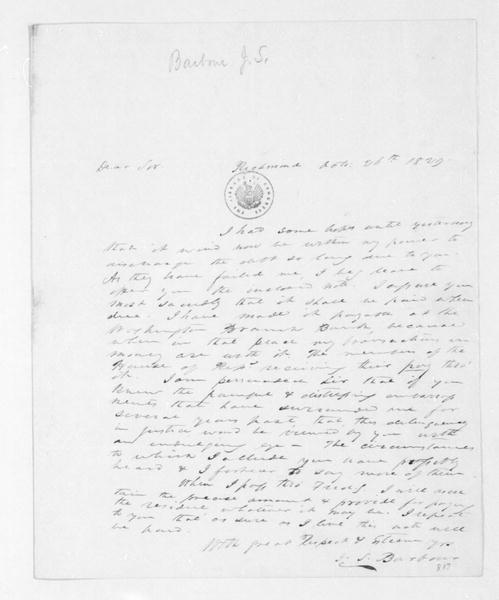J. S. Barbour to James Madison, October 26, 1829.
