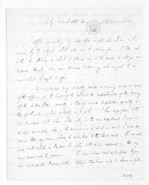 Samuel A. Storrow to James Madison, March 24, 1830.