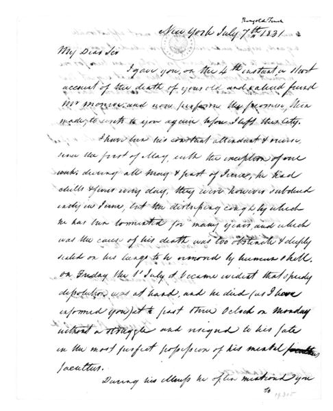 Tench Ringgold to James Madison, July 7, 1831.
