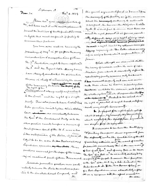 James Madison to Andrew Stevenson, February 4, 1833. & Notes-Copy-Secession.