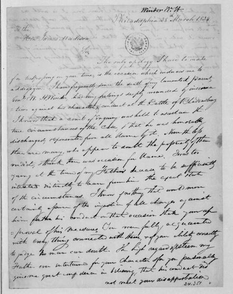 W. H. Winder to James Madison, March 28, 1834.