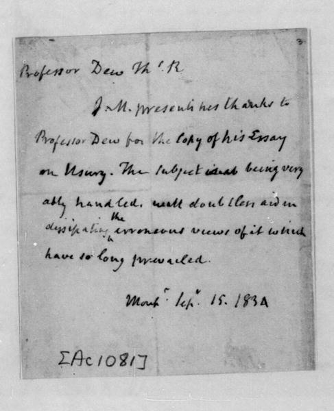 James Madison to Thomas R. Dew, September 15, 1834.