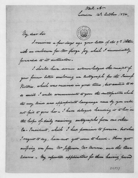 Aaron Vail to James Madison, October 14, 1834.