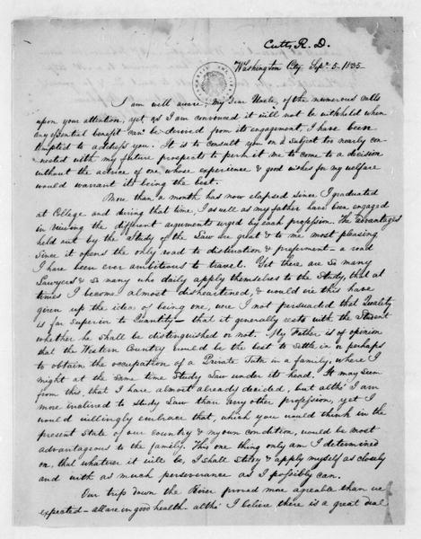Richard D. Cutts to James Madison, September 5, 1835.