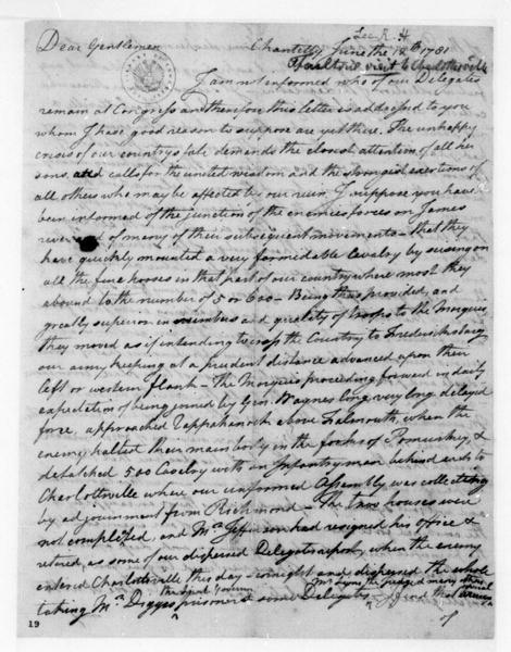 Richard H. Lee to Unknown, June 12, 1781.