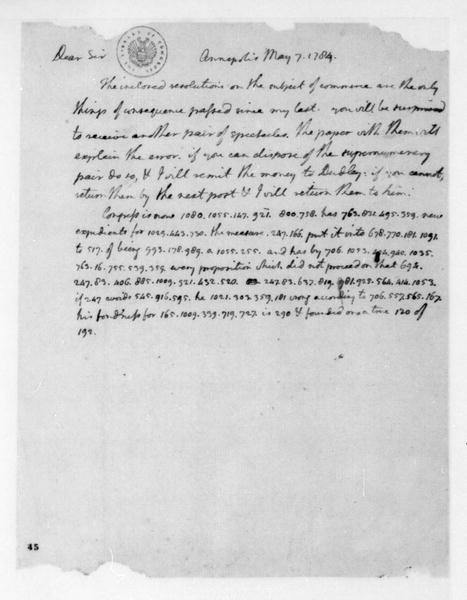 Thomas Jefferson to James Madison, May 7, 1784. Partly in Cipher.