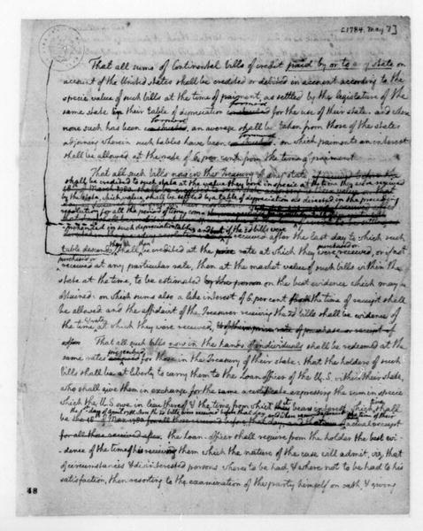 Thomas Jefferson, May 7, 1784. Notes, Bills of Credit.
