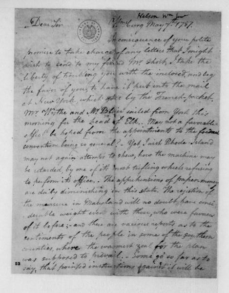 William Nelson to James Madison, May 7, 1787.
