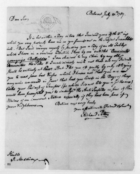 Richard Peters to James Madison, July 20, 1789. With Poem.