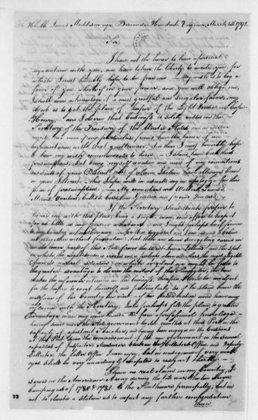 John Waller Johnston to James Madison, March 1, 1792.