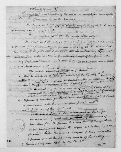 James Madison, November, 1792. Answer and William C Rives note.