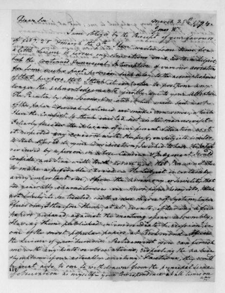 Walter Jones to James Madison, March 25, 1794.