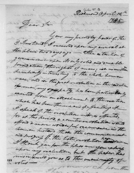 William B. Giles to James Madison, April 12, 1795.