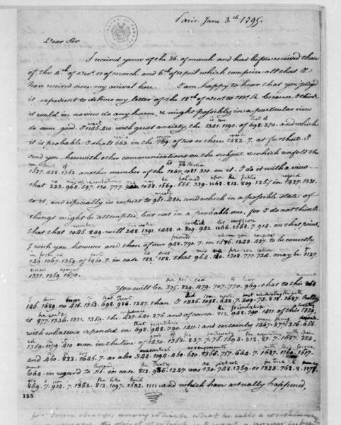 James Monroe to James Madison, June 3, 1795. Partly in cipher.