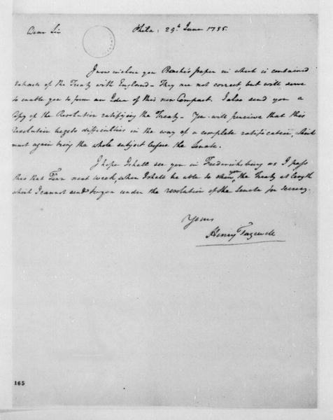 Henry Tazewell to James Madison, June 29, 1795. With Resolution.