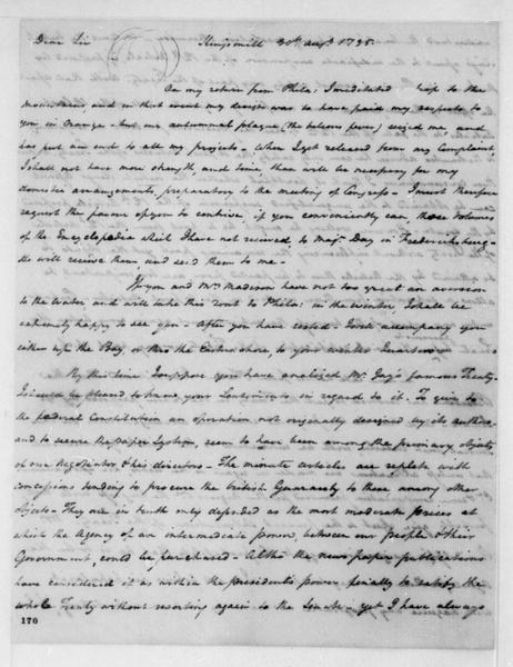 Henry Tazewell to James Madison, August 30, 1795.