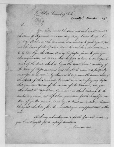 James Madison to Robert Simons, December 2, 1795.