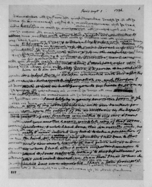 James Monroe to James Madison, August 1, 1796. Partly in cipher. Includes Aug 5, 1796 Postscript.