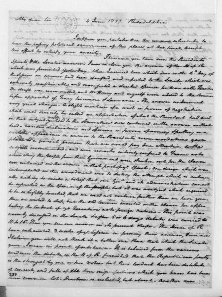 Henry Tazewell to James Madison, June 4, 1797.