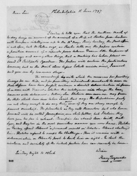 Henry Tazewell to James Madison, June 11, 1797.