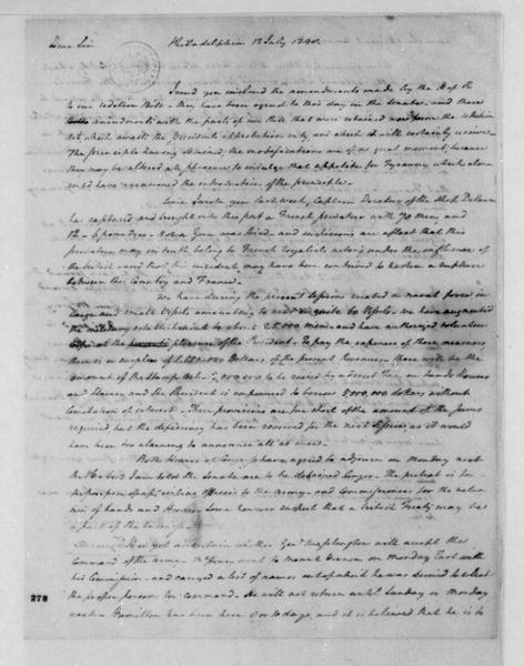 Henry Tazewell to James Madison, July 12, 1798. With a copy of a House of Representative Bill.