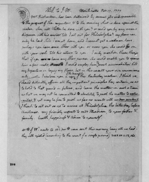 Thomas Jefferson to James Madison, November 17, 1799. With Kentucky Resolutions.