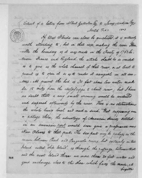 Albert Gallatin to James Madison, February, 1803. Extract - Includes cover dated March 1, 1801.