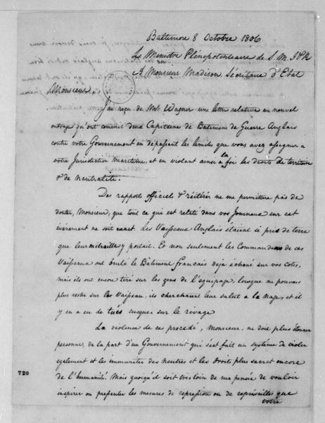 Turreau to James Madison, October 8, 1806. In French.