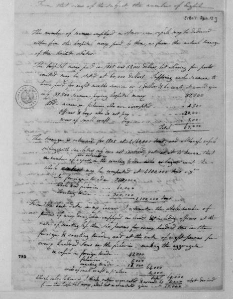 Albert Gallatin to James Madison, April 13, 1807. Estimate.