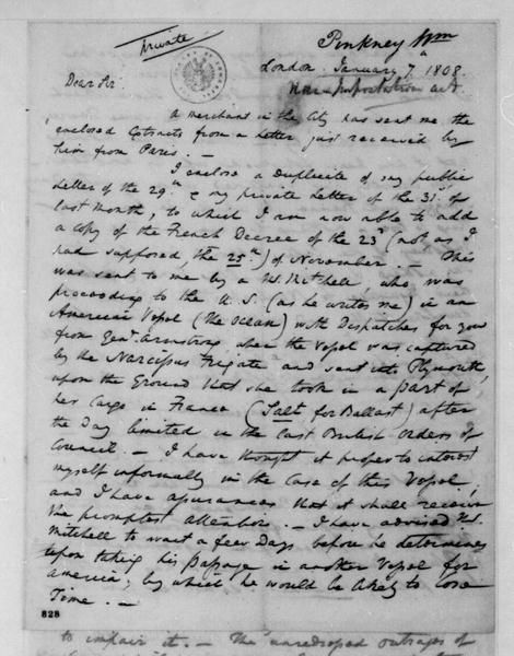 William Pinkney to James Madison, January 7, 1808.