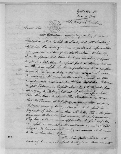 Albert Gallatin to James Madison, May 10, 1808.
