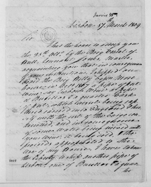 William Jarvis to James Madison, March 7, 1809. With Account.