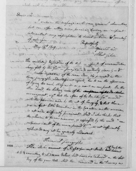 Albert Gallatin to James Madison, May 18, 1809.