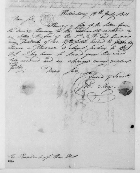 George Joy to James Madison, July 18, 1811. With Chancery Report.