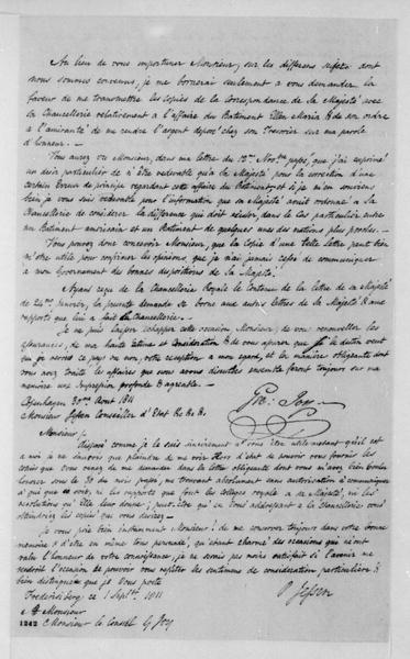 George Joy to P. Jessen, August 30, 1811. In French with P. Jessen's reply dated Sept. 1, 18011.