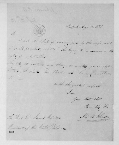 Alexander B. Johnson to James Madison, August 13, 1813.